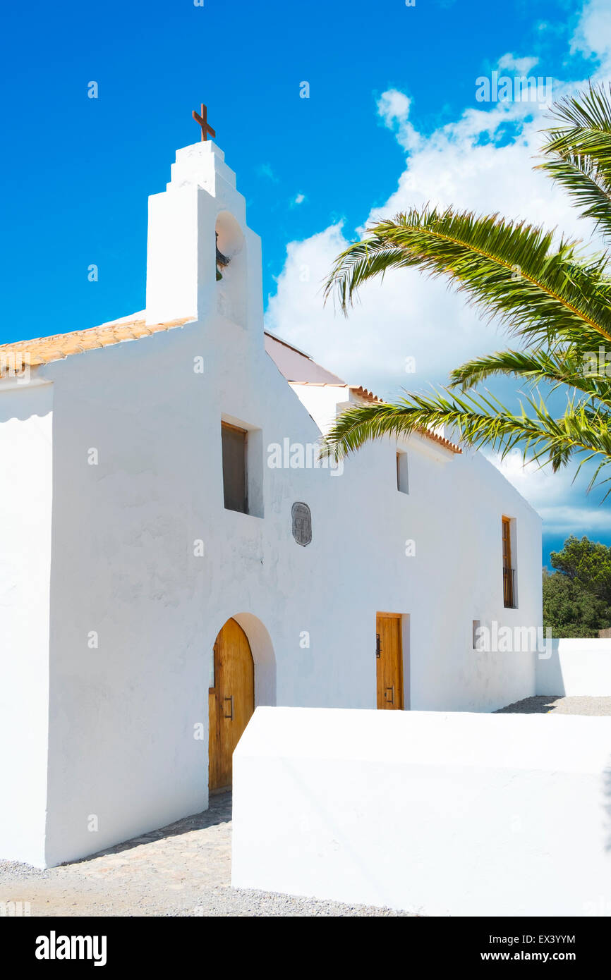 a view of the whitewashed church of Sant Francesc des Estany, built in 1771, in Ibiza Island, Balearic Islands, - Stock Image