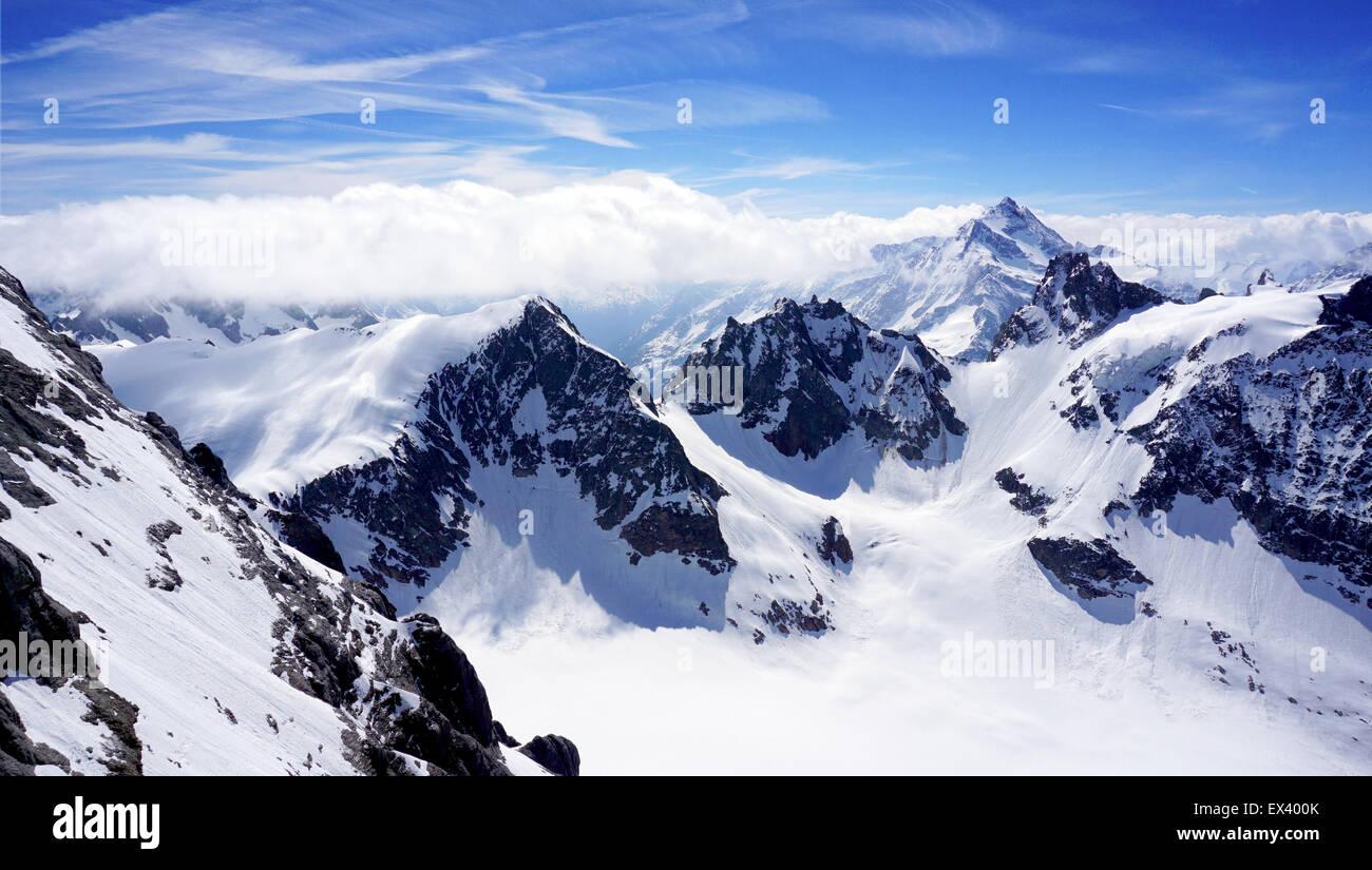 scenery of Valley Titlis snow mountains, Engelberg, Switzerland Stock Photo