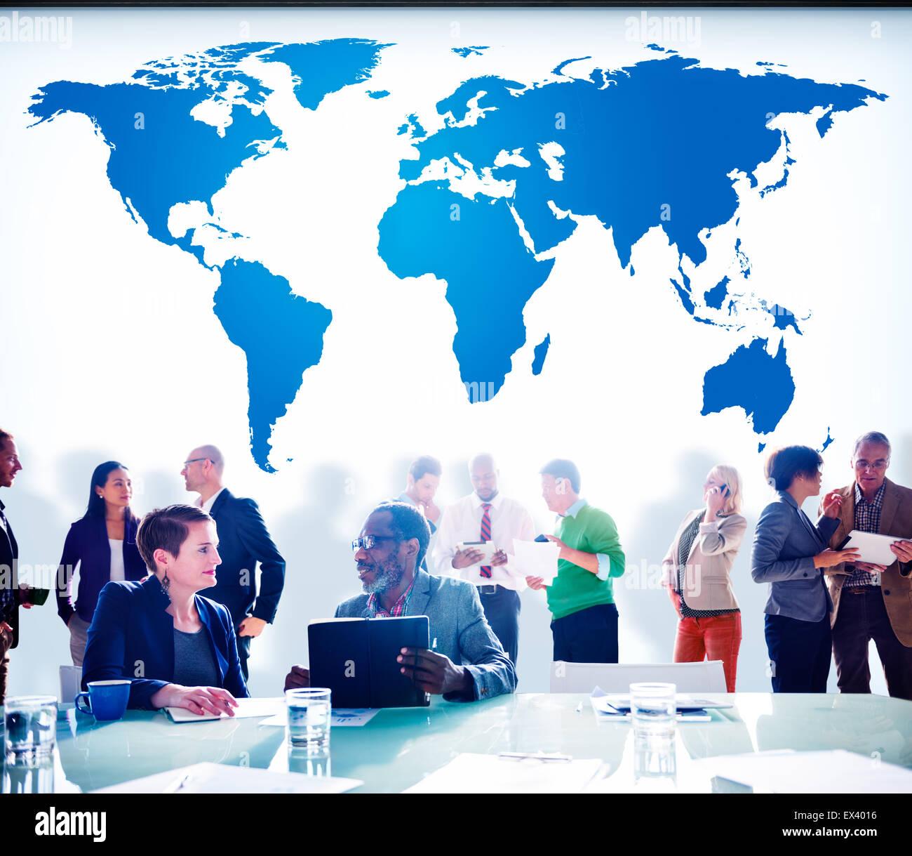 World Global Cartography Globalization Earth International Concept - Stock Image