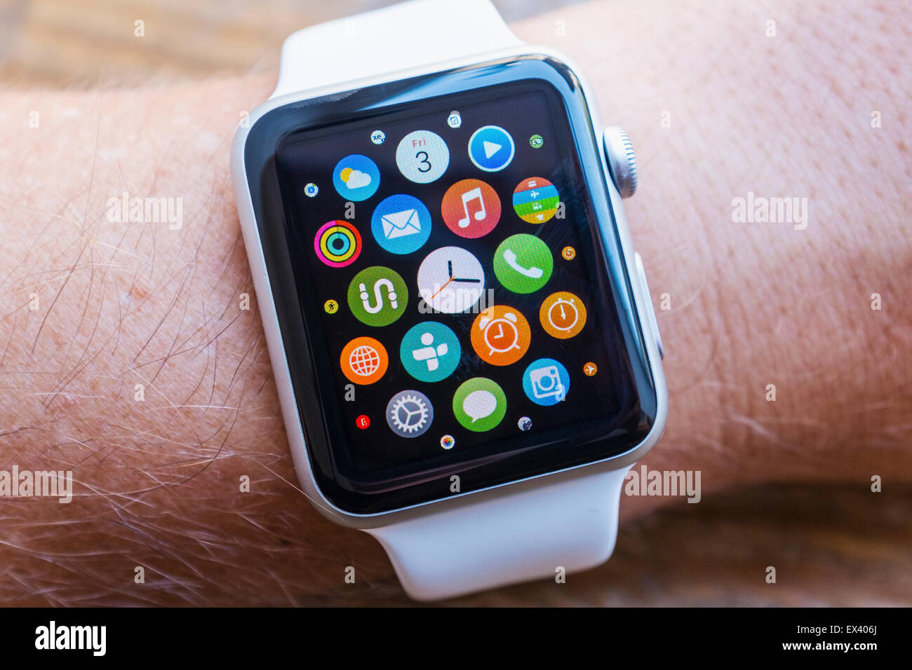 Detail of many apps on screen of an Apple Watch - Stock Image