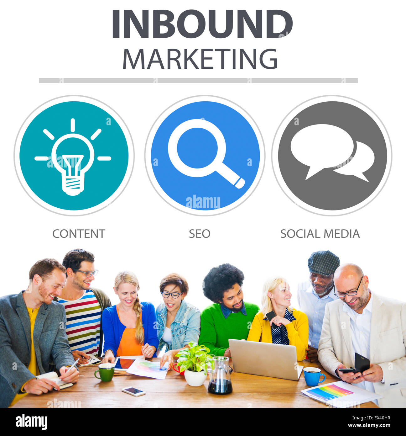 Inbound Marketing Commerce Content Social Media Concept - Stock Image