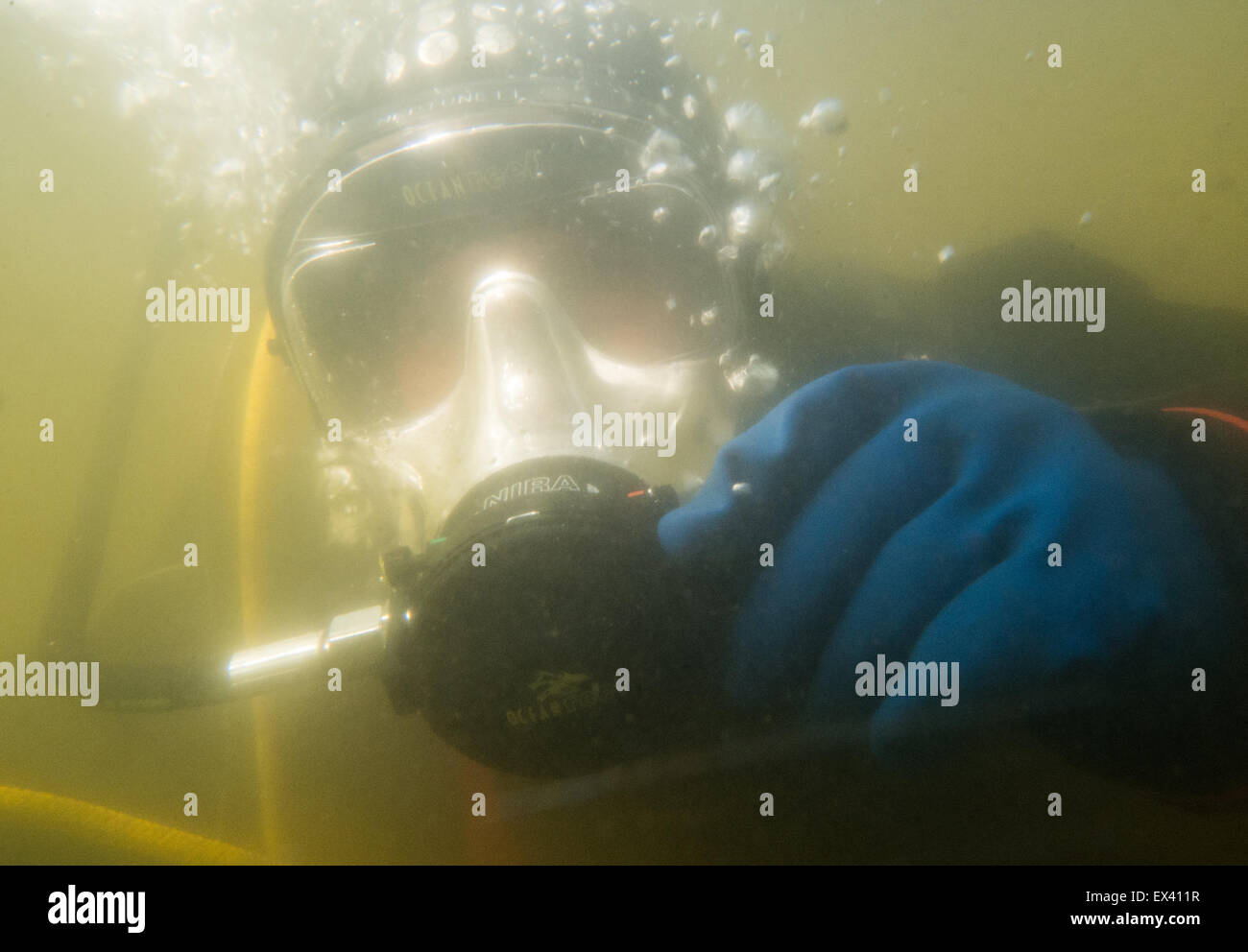 Diver Heiko Eisenhauer of surface water rescue association SEG Wasserrettung Flaeming-Spreewald e.V. of the German - Stock Image