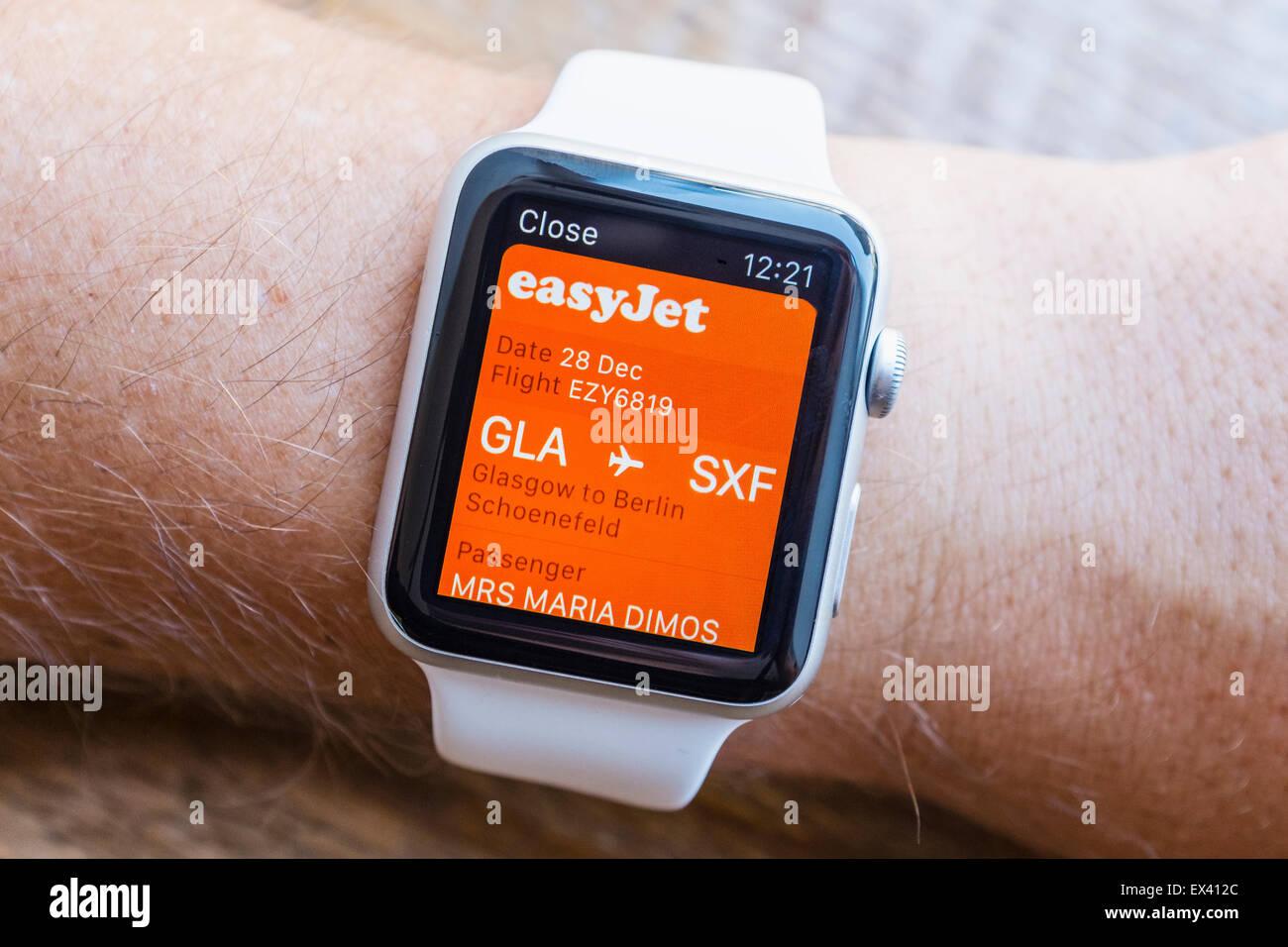 Easyjet boarding pass on Passbook app on an Apple Watch - Stock Image