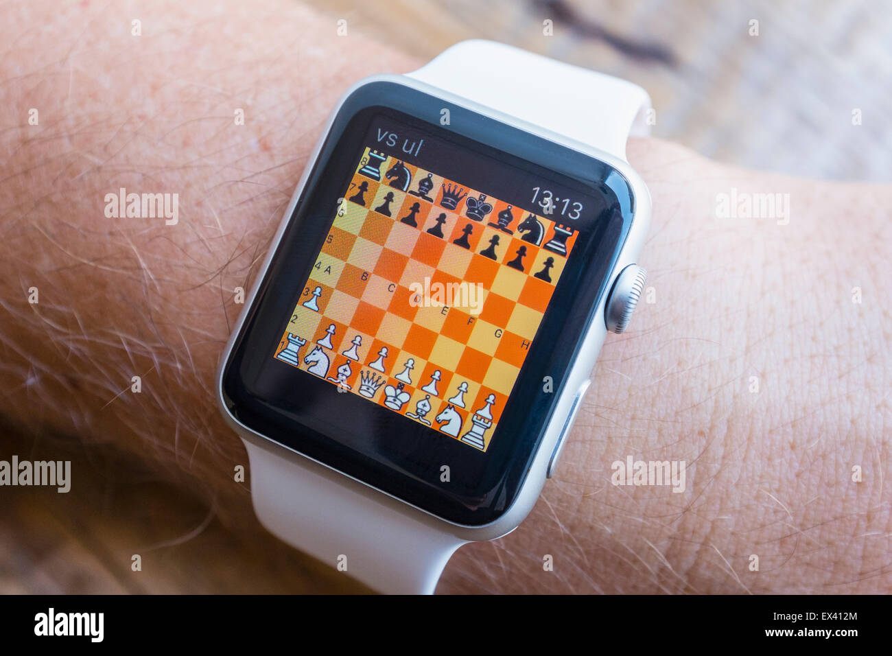 Chess game on an Apple Watch - Stock Image