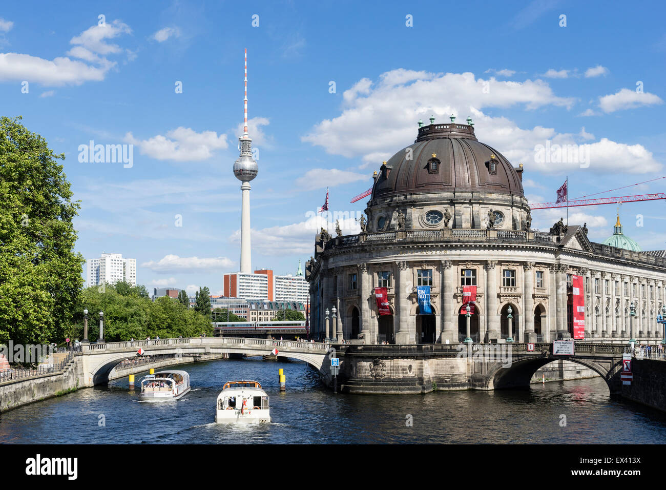 View of Bode Museum and Television Tower or Fernsehturm in Berlin Germany - Stock Image