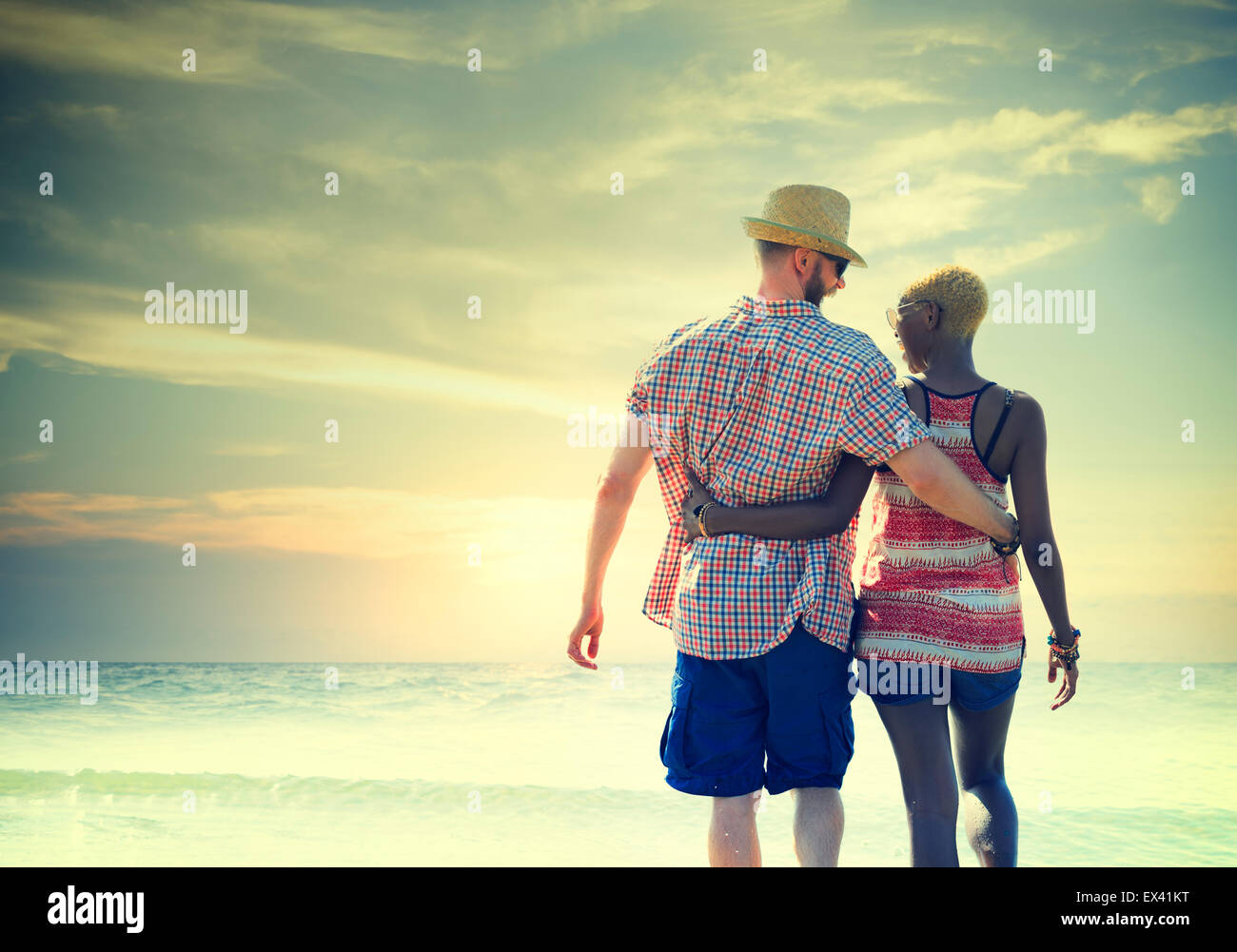Sweet Beach Summer Holiday Couple Love Concept - Stock Image