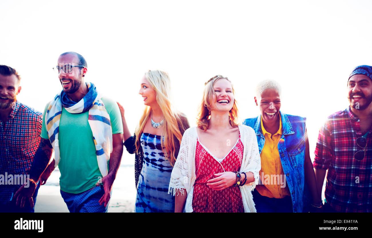 Diverse Beach Summer Friends Fun Bonding Concept - Stock Image