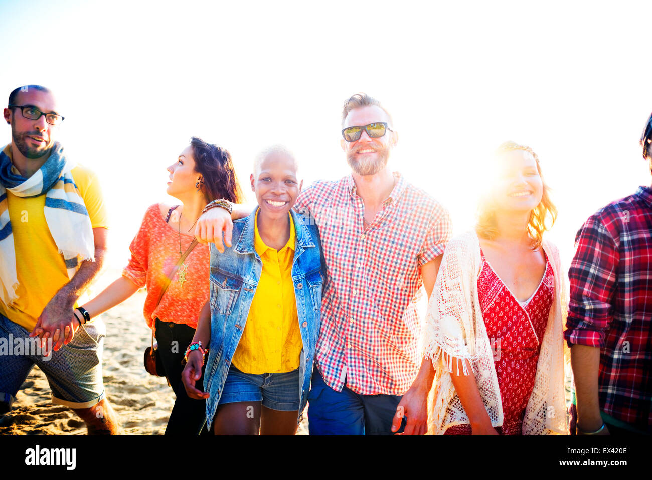 Friendship Bonding Relaxation Summer Beach Happiness Concept - Stock Image