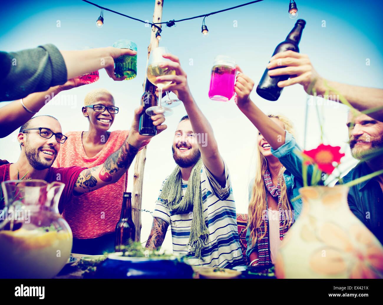 Beach Cheers Celebration Friendship Summer Fun Dinner Concept - Stock Image