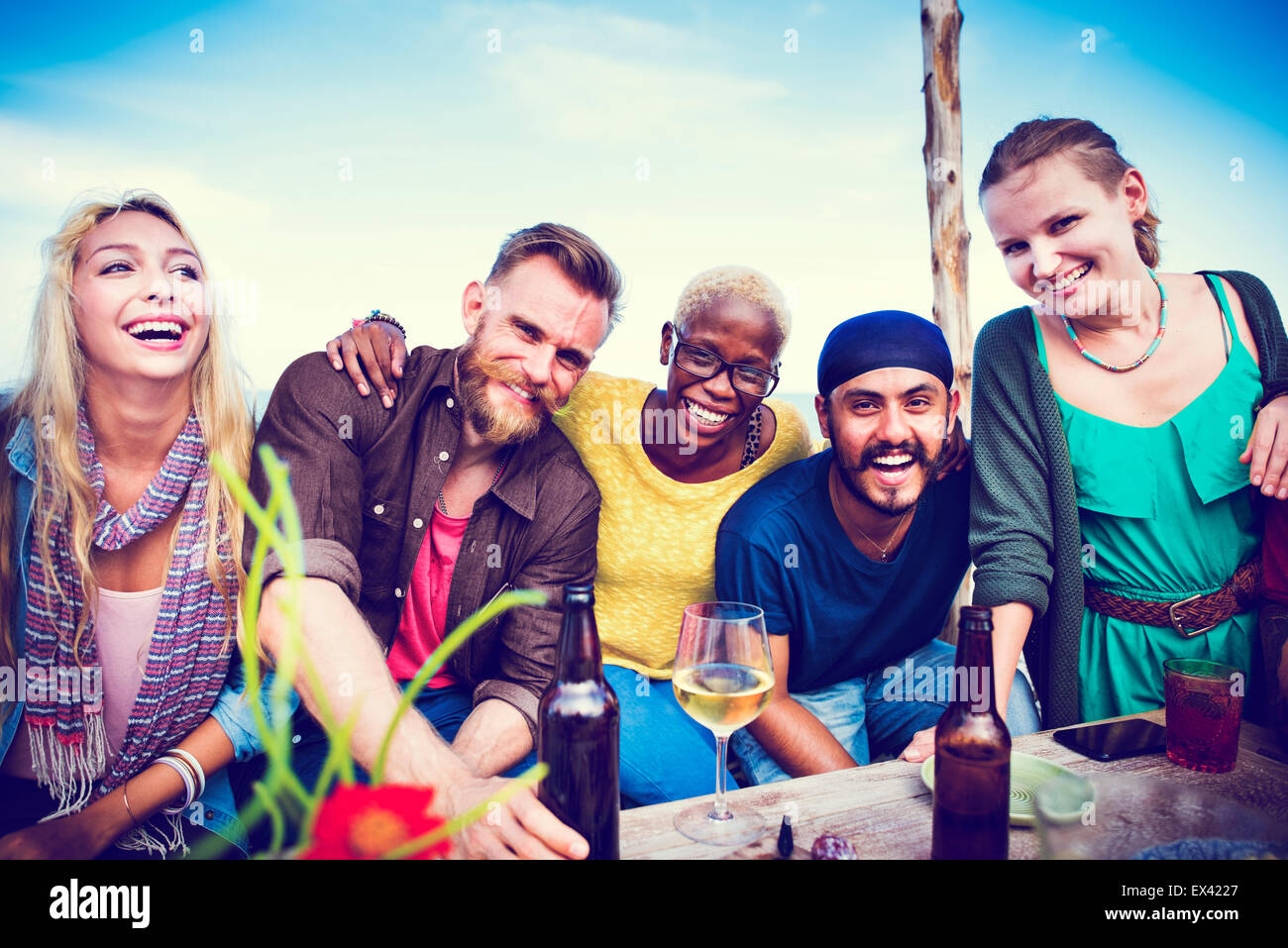 Beach Party Dinner Friendship Happiness Summer Concept - Stock Image