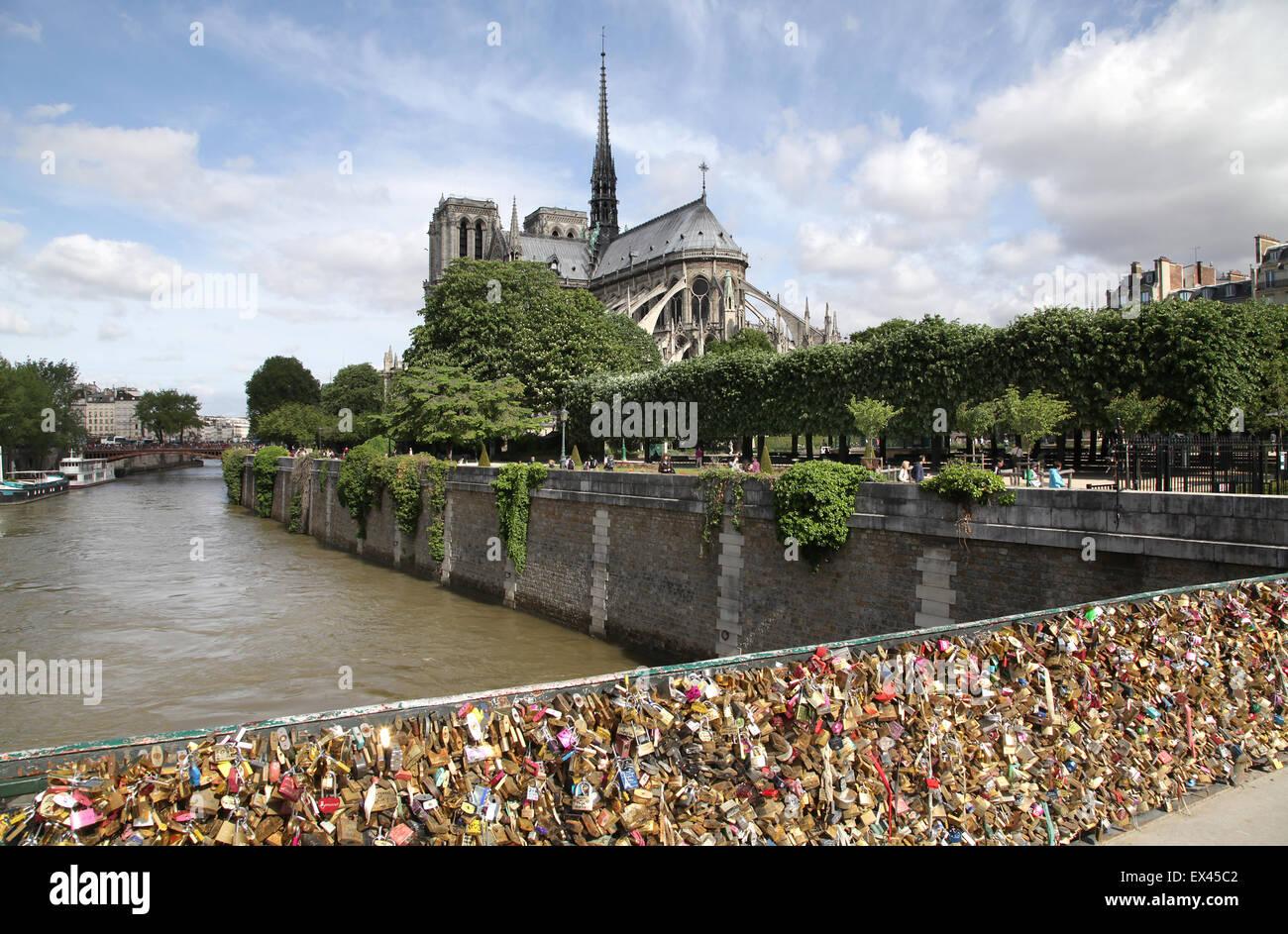Pont des Arts.Love lock bridge.Love locks.Paris.France - Stock Image