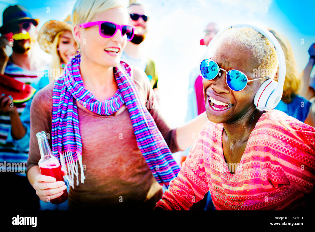 Beach Party Music Dancing Friendship Summer Concept - Stock Image