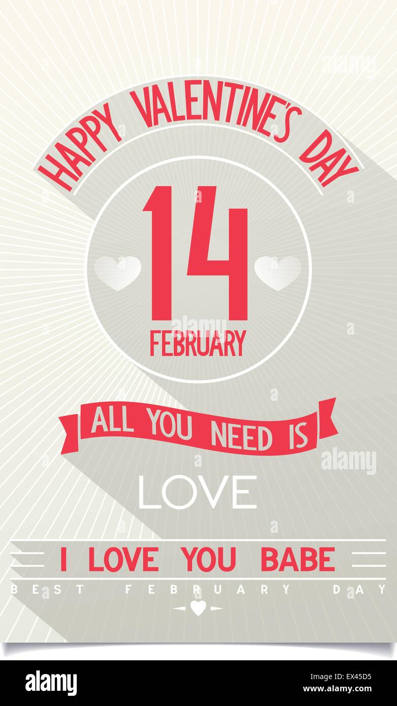 Just Happy Valentine's Day flyer with flat design lettering on stylised antique background. vector eps10 - Stock Vector