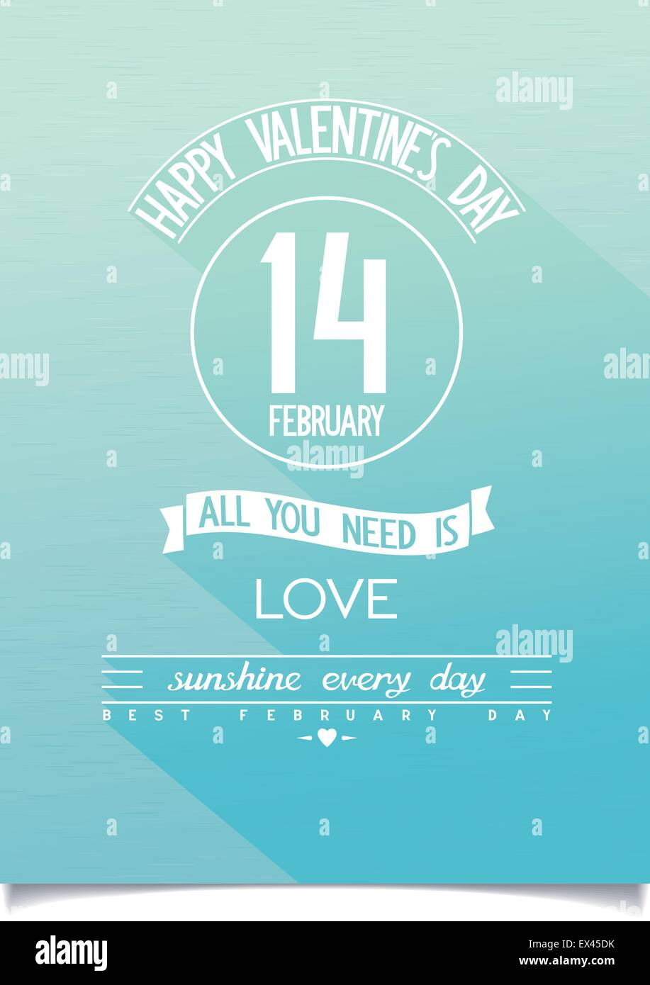 Sunshine Happy Valentine's Day placard with flat design lettering on stylised blue sky background. vector eps10 - Stock Vector