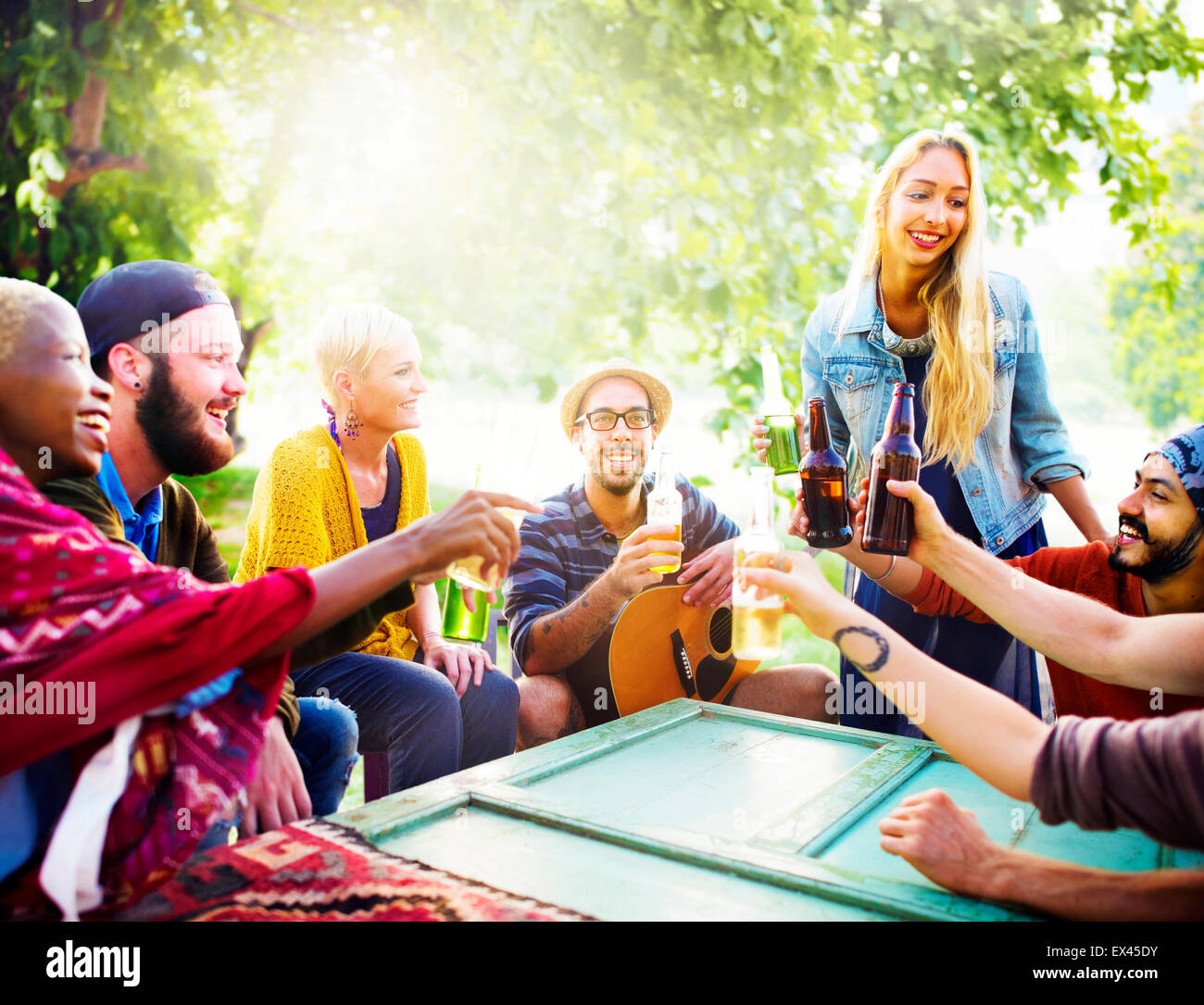 Friend Celebrate Party Picnic Joyful Lifestyle Drinking Concept - Stock Image