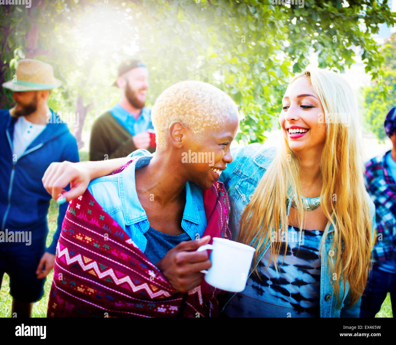 Friends Outdoors Camping Holiday Cheerful Concept - Stock Image
