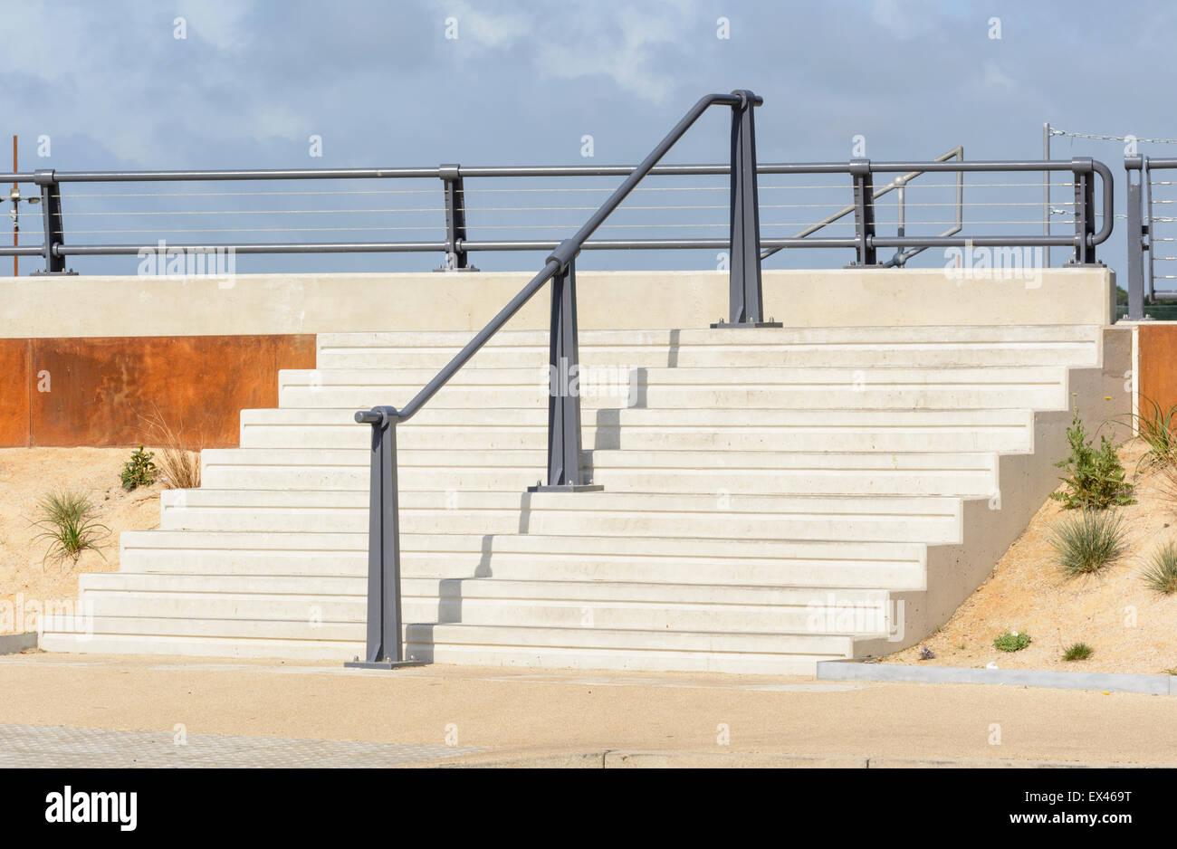 Newly built concrete steps. - Stock Image