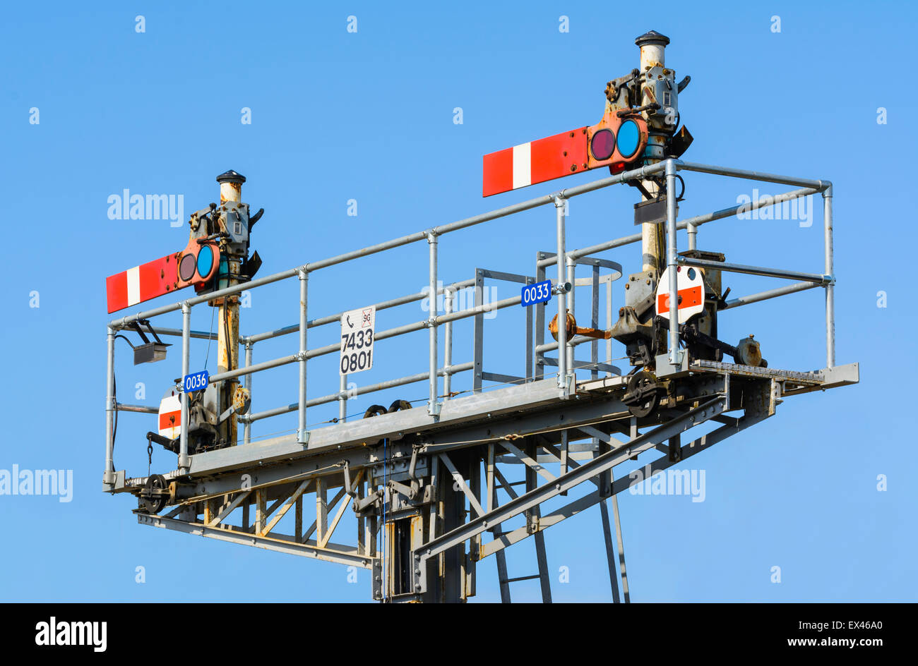 Old style mechanical semaphore stop signals on a British railway, both in the stop position, in England, UK. Stock Photo