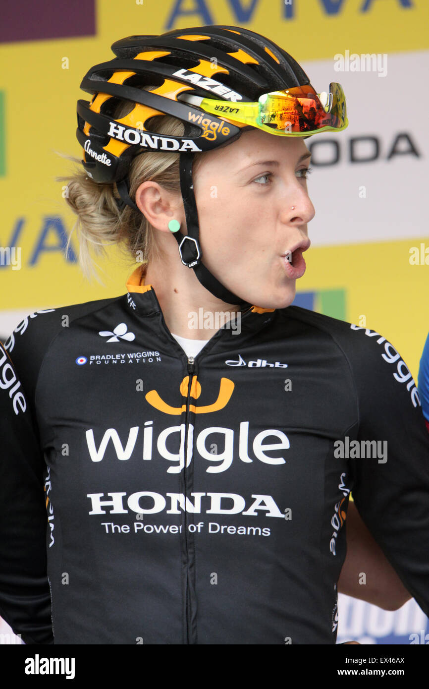 Australian cyclist Annette Edmondson before Stage 3 Aviva Women's Tour Oundle to Kettering, Northamptonshire - Stock Image