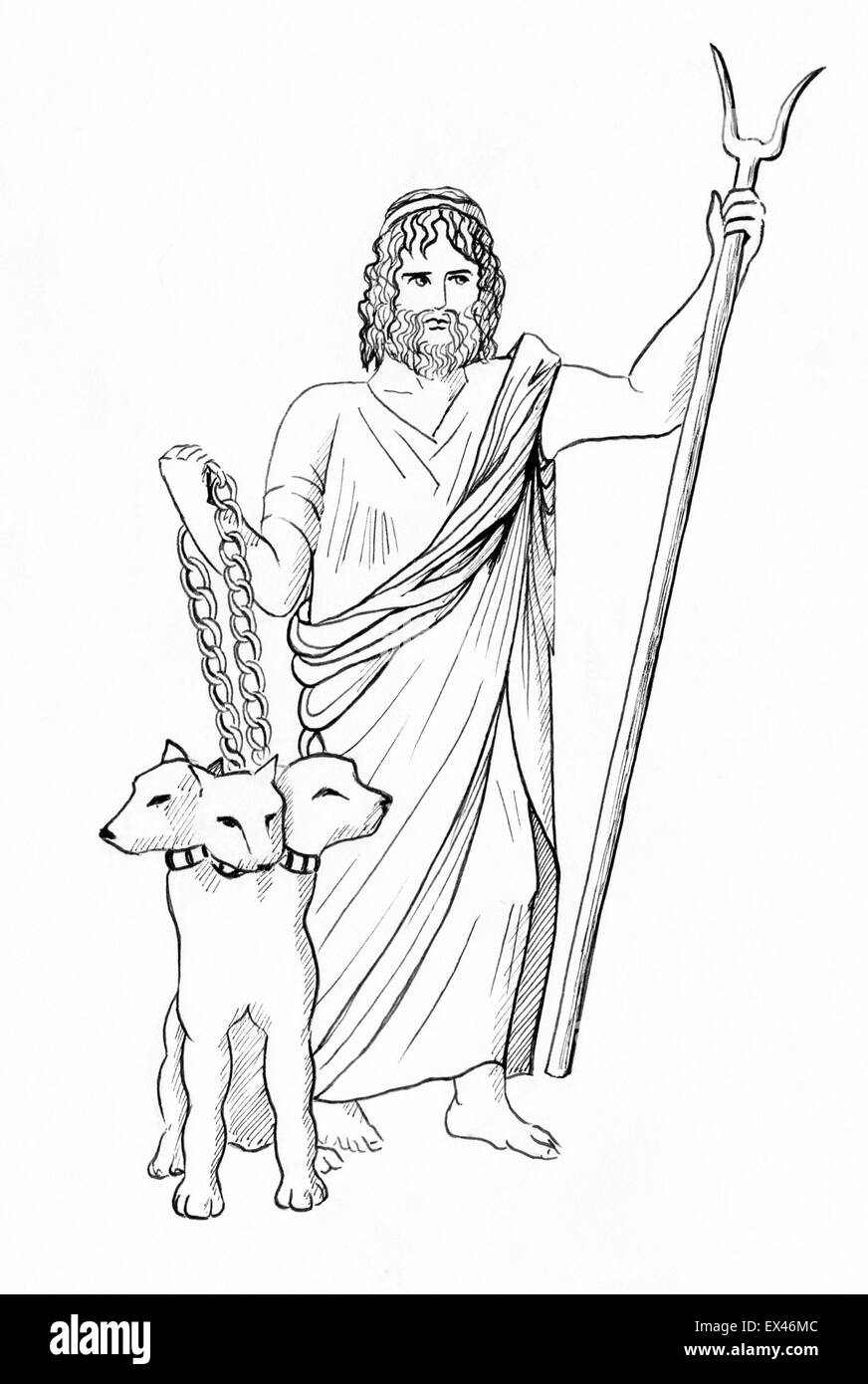 Line Drawing Of Pluto Hades Dis God Of The Underworld With Cerberus
