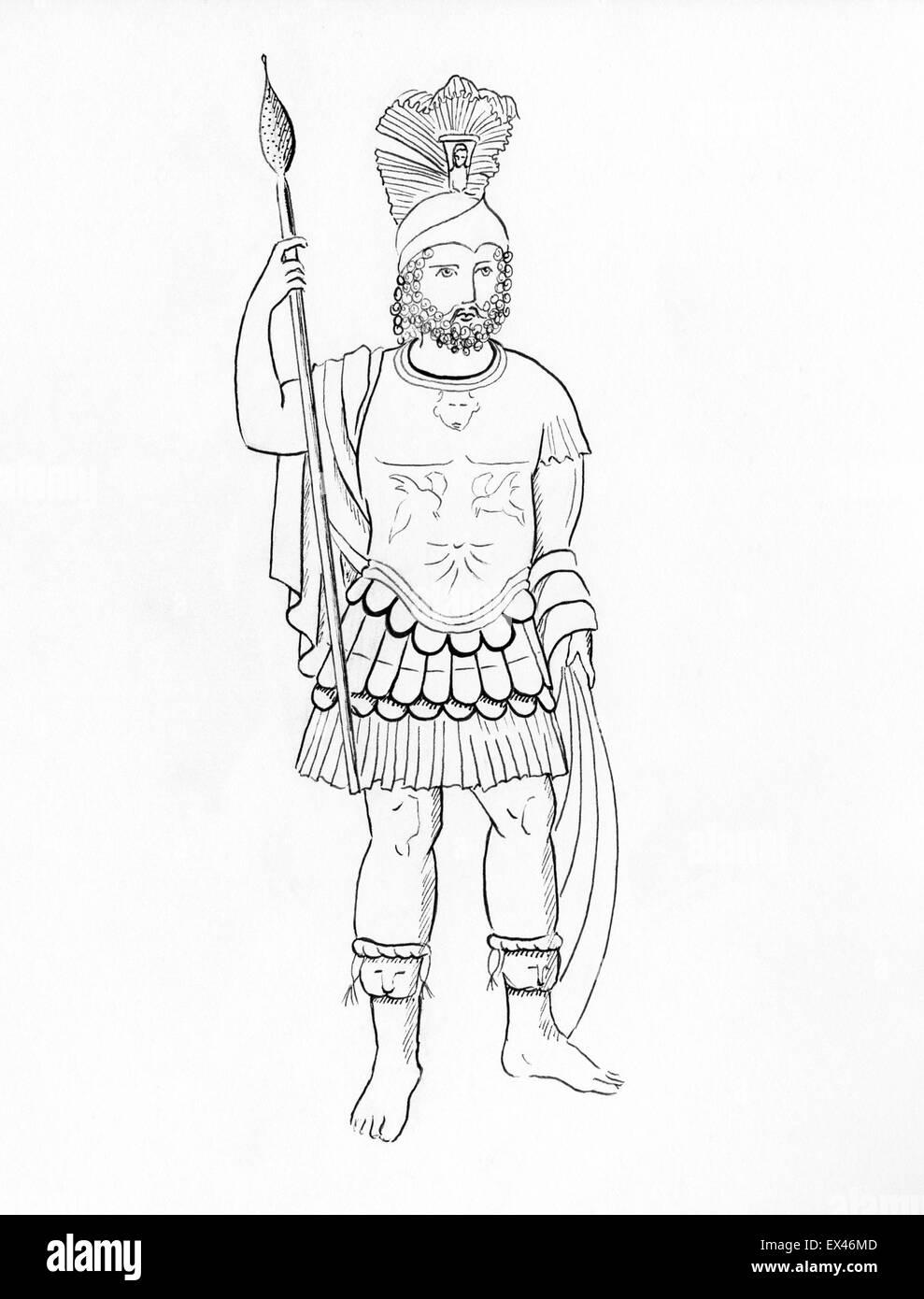 Line drawing of Mars god of war - Stock Image