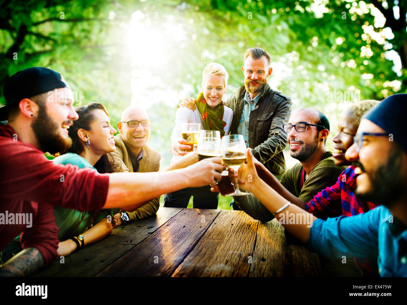 Friends Party Outdoors Celebration Happiness Concept - Stock Image