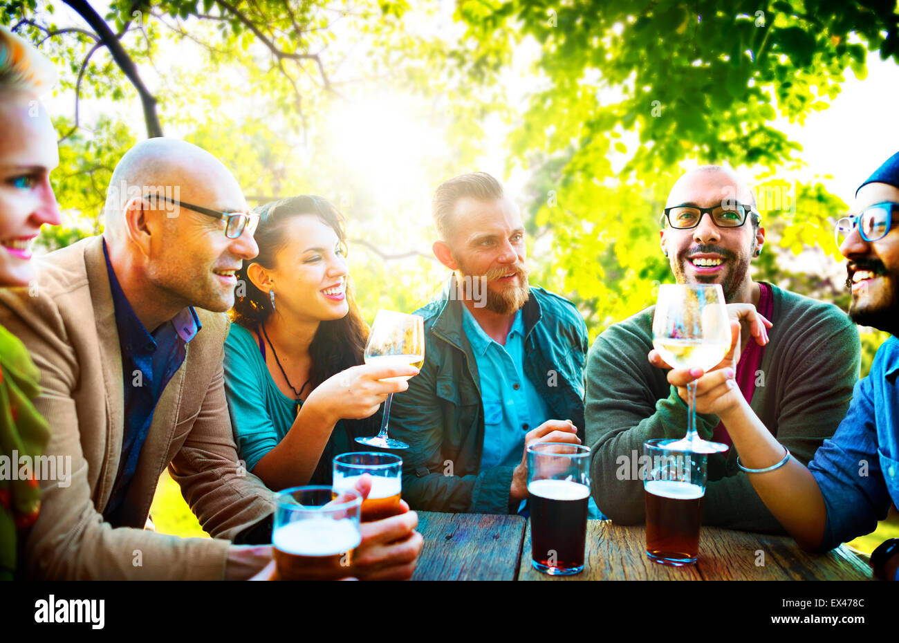 Diverse People Friends Hanging Out Drinking Concept - Stock Image