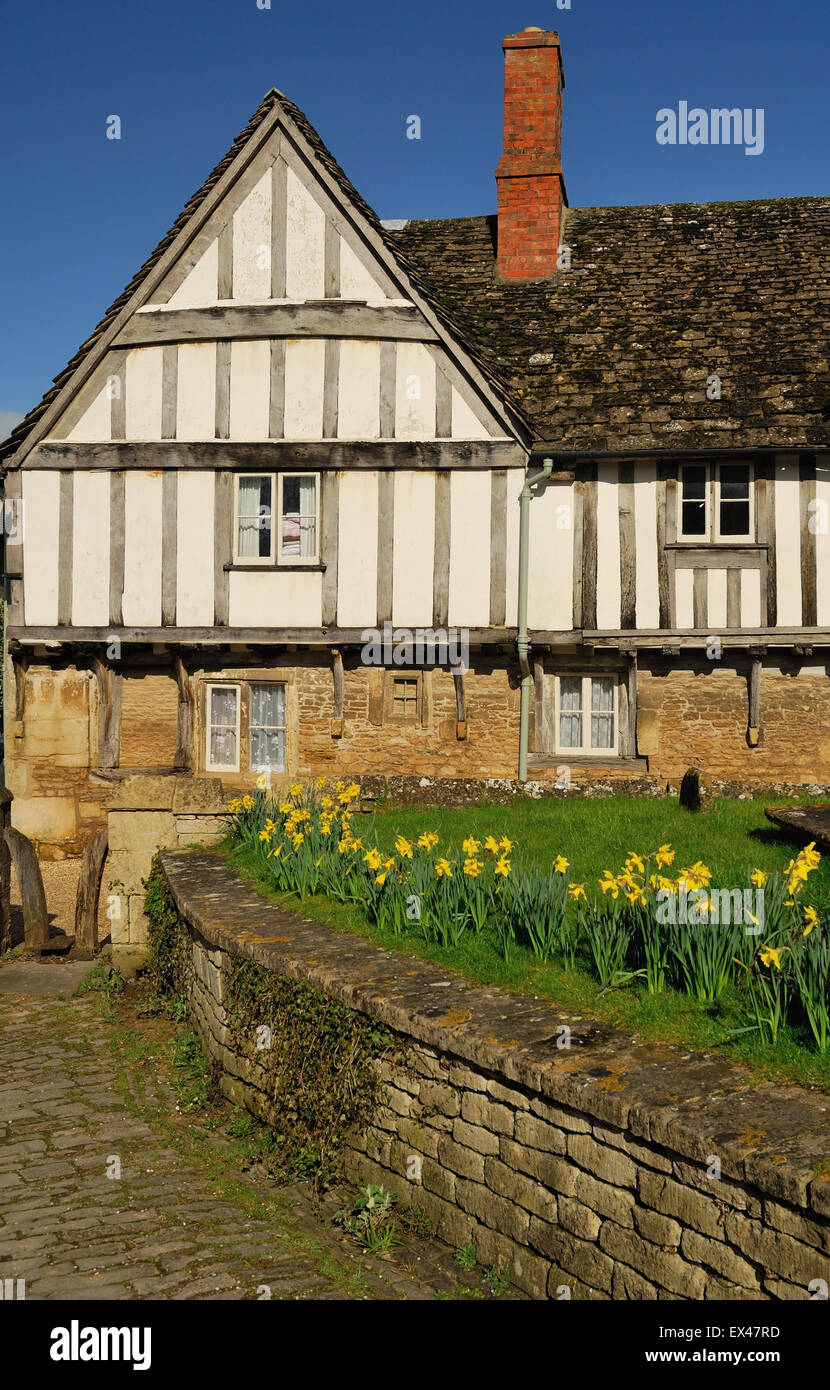 Half-timbered houses in Lacock. - Stock Image