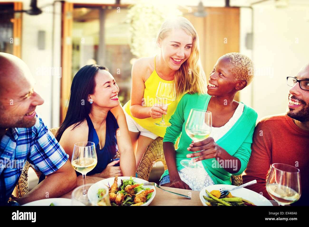 Diverse People Luncheon Outdoors Food Concept - Stock Image