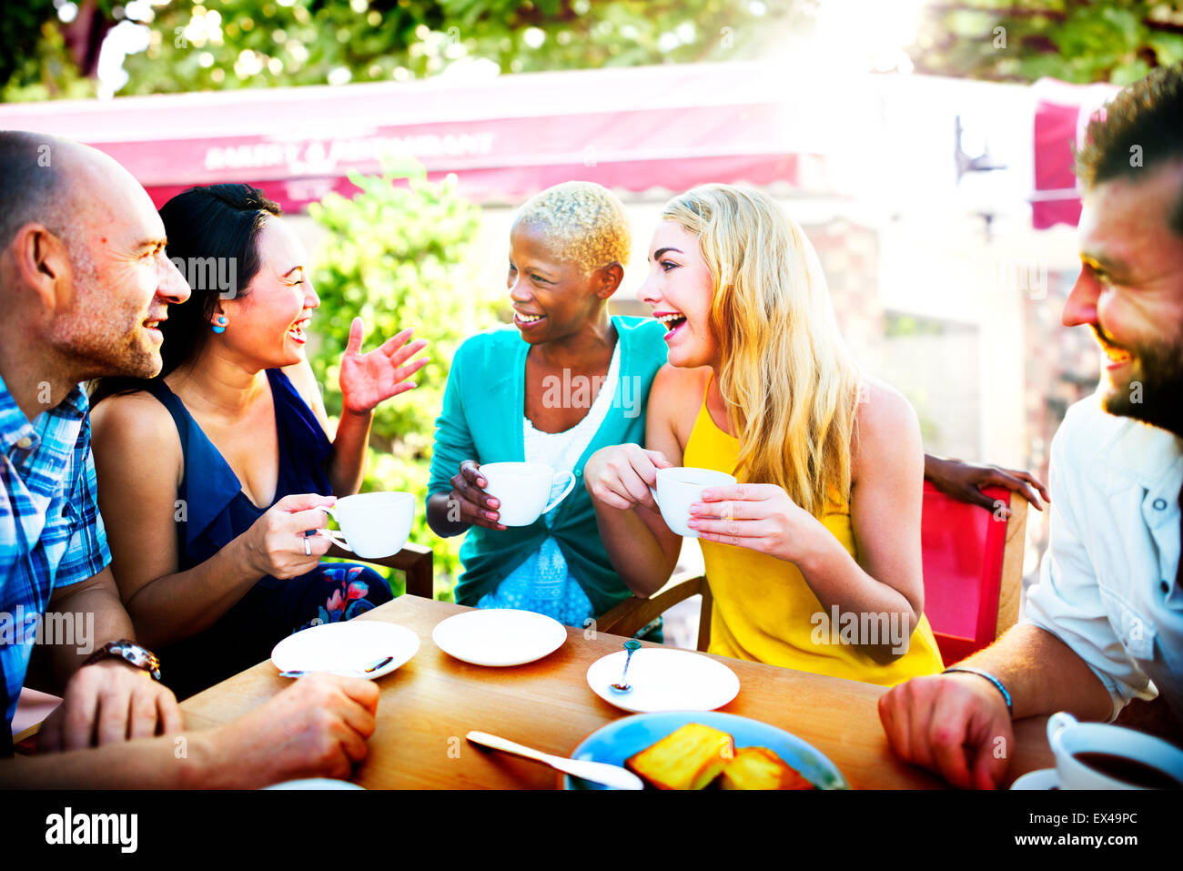 Diverse People Coffee Shop Outdoors Chat Concept - Stock Image