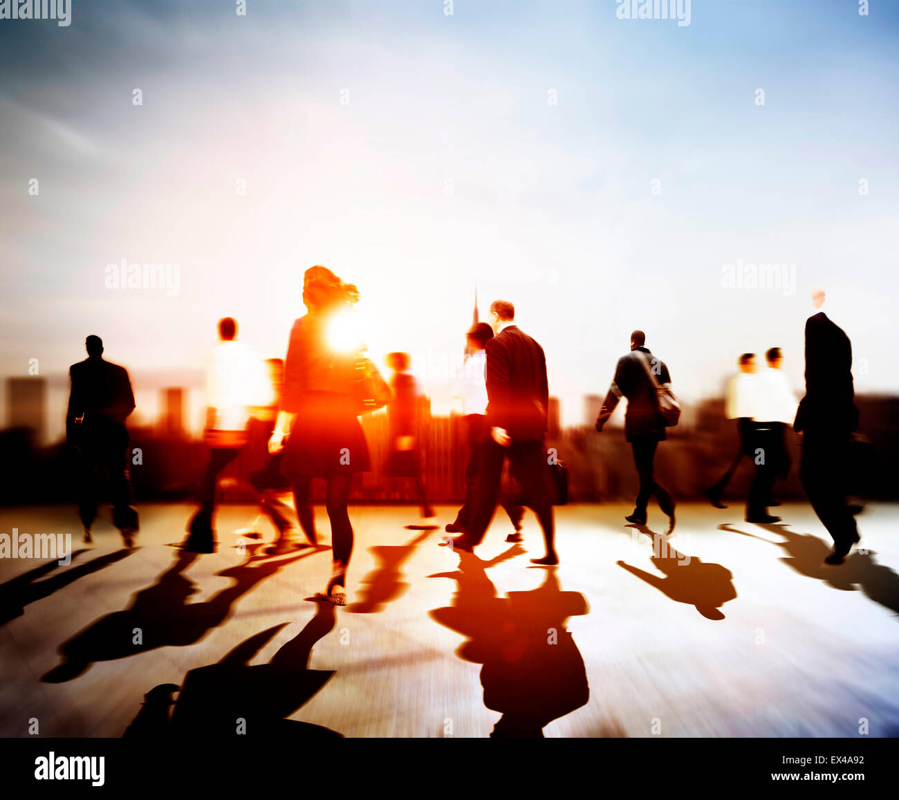 Business People Rush Hour Walking Commuting City Concept - Stock Image