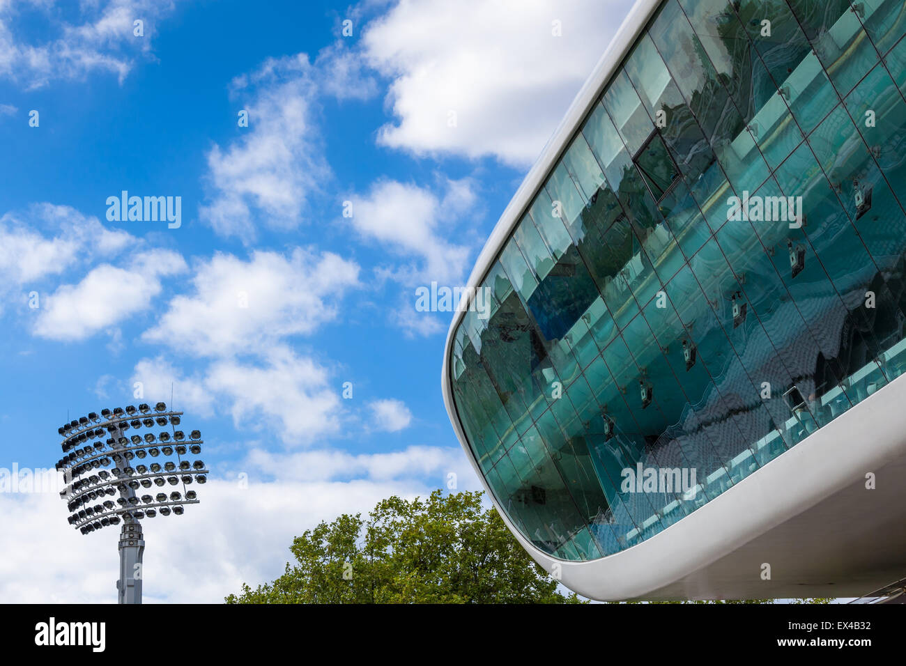 View of Media Centre and floodlight at the Nursery End of Lord's Cricket Ground - London, UK, 27 June 2015 - Stock Image
