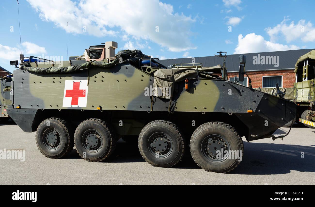 Swiss-made Mowag Piranha APC as an ambulance vehicle of the Danish Army. - Stock Image