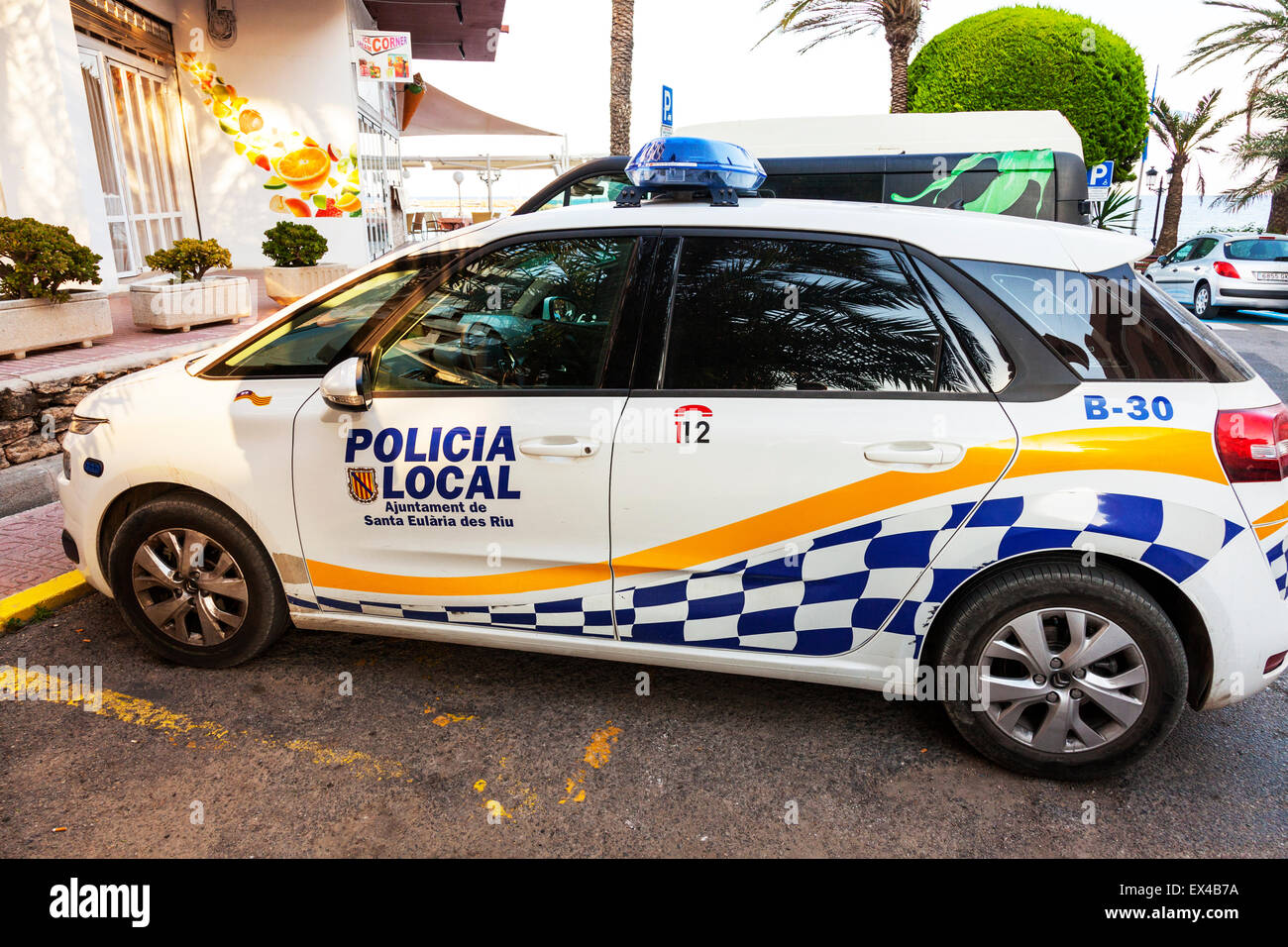 Spanish Police Car Spain Policia Local Vehicle Parked Waiting Stock