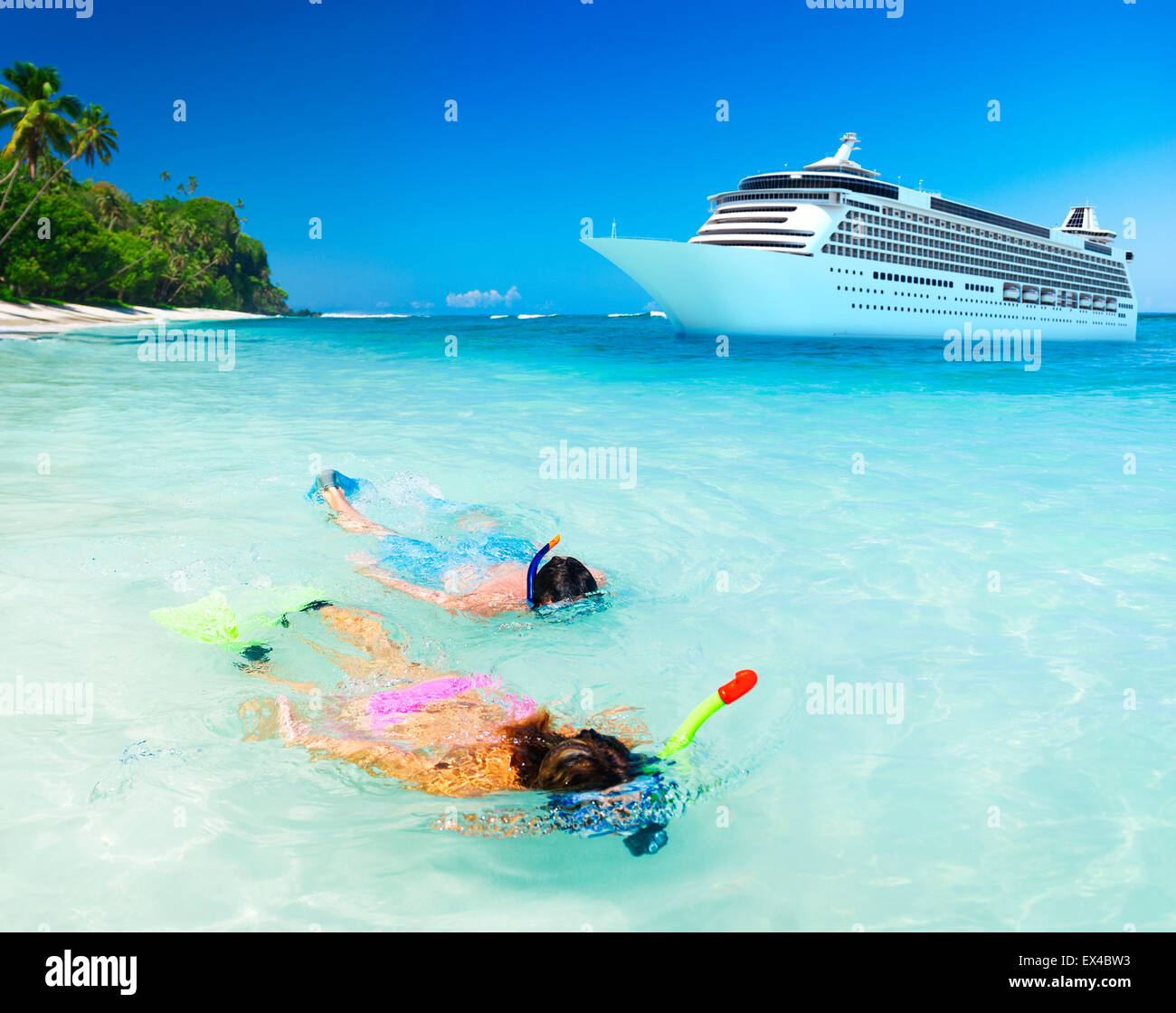 Couple Snorkeling Activity Ocean Cruise Concept - Stock Image