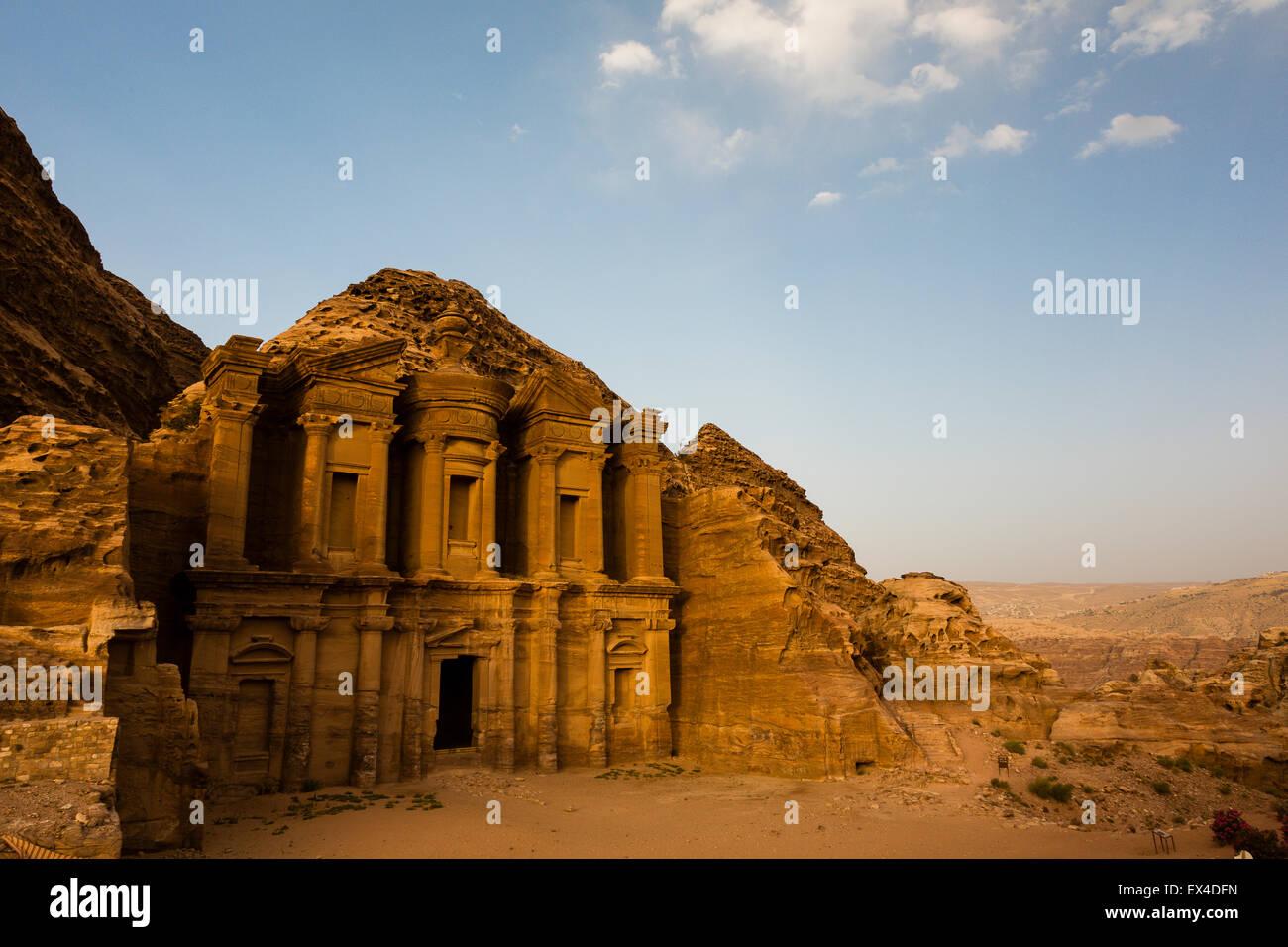 Petra, Jordan, 8th June. Deserted view of Petra's monastery just before sunset. - Stock Image