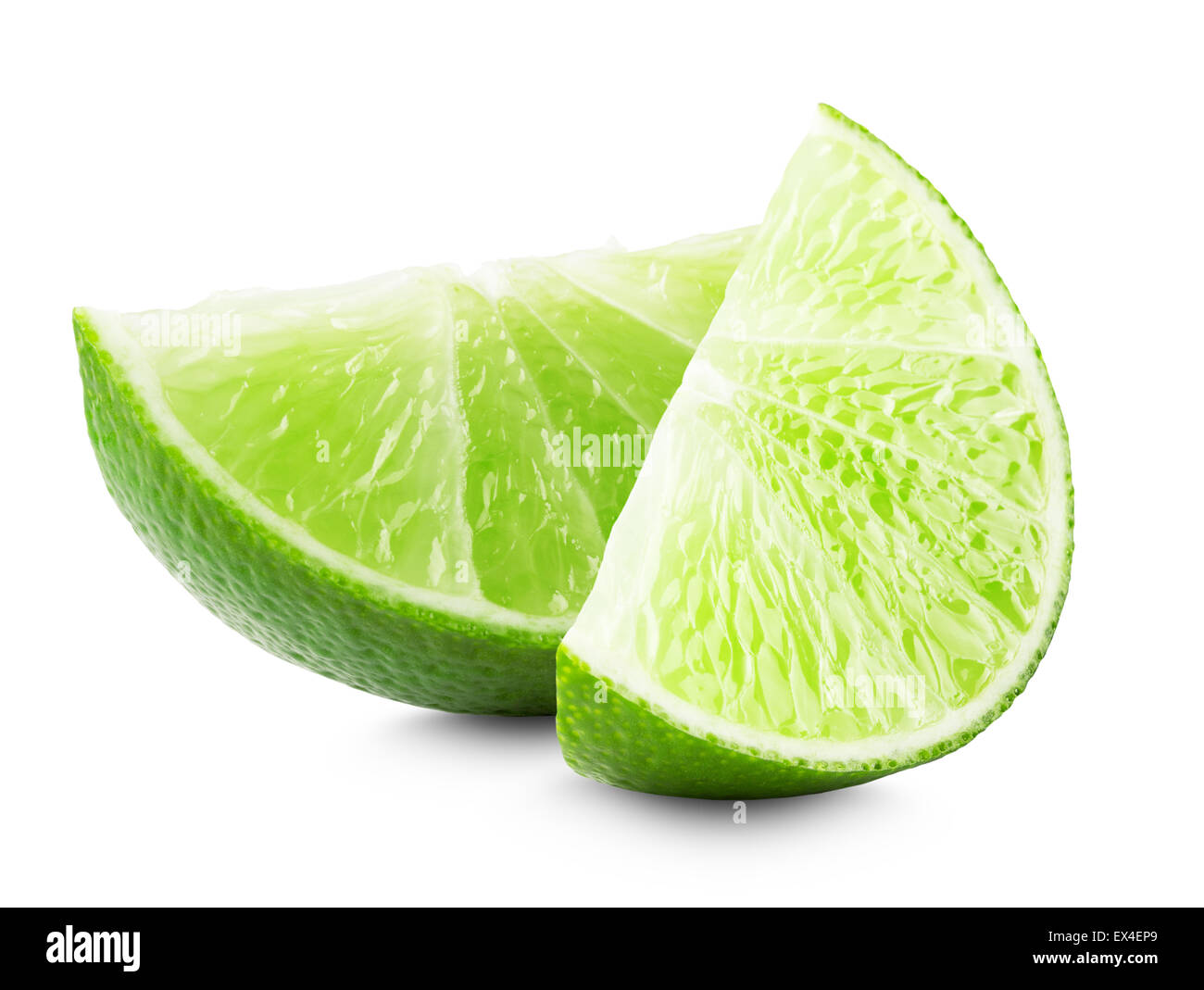 lime slices isolated on white background. - Stock Image