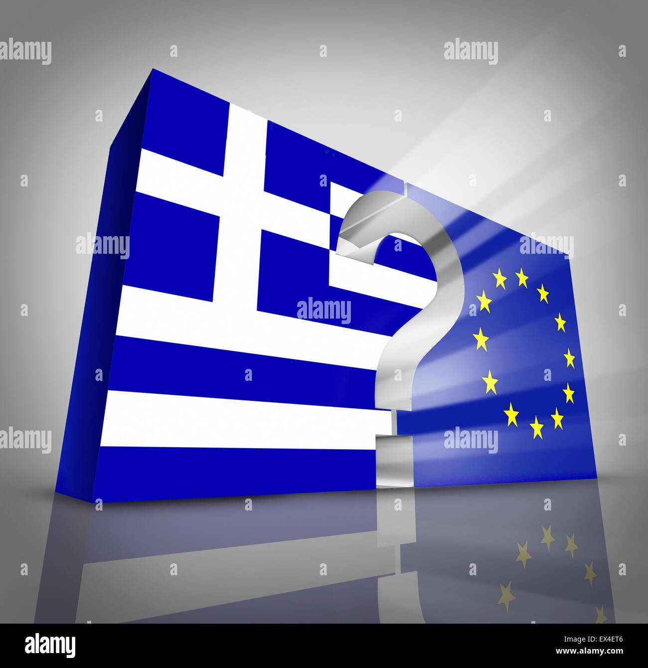 European Greece questions or Greek debt crisis and austerity management concept as a three dimensional blue and - Stock Image