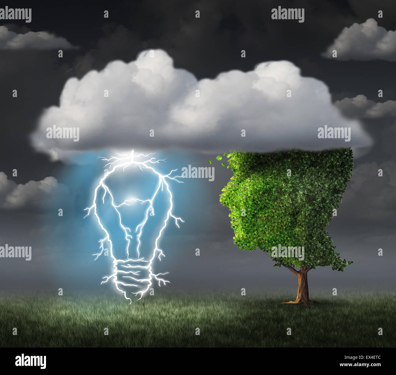 Business idea concept as a tree shaped as a face under a cloud with an electric lightning bolt in the shape of an - Stock Image