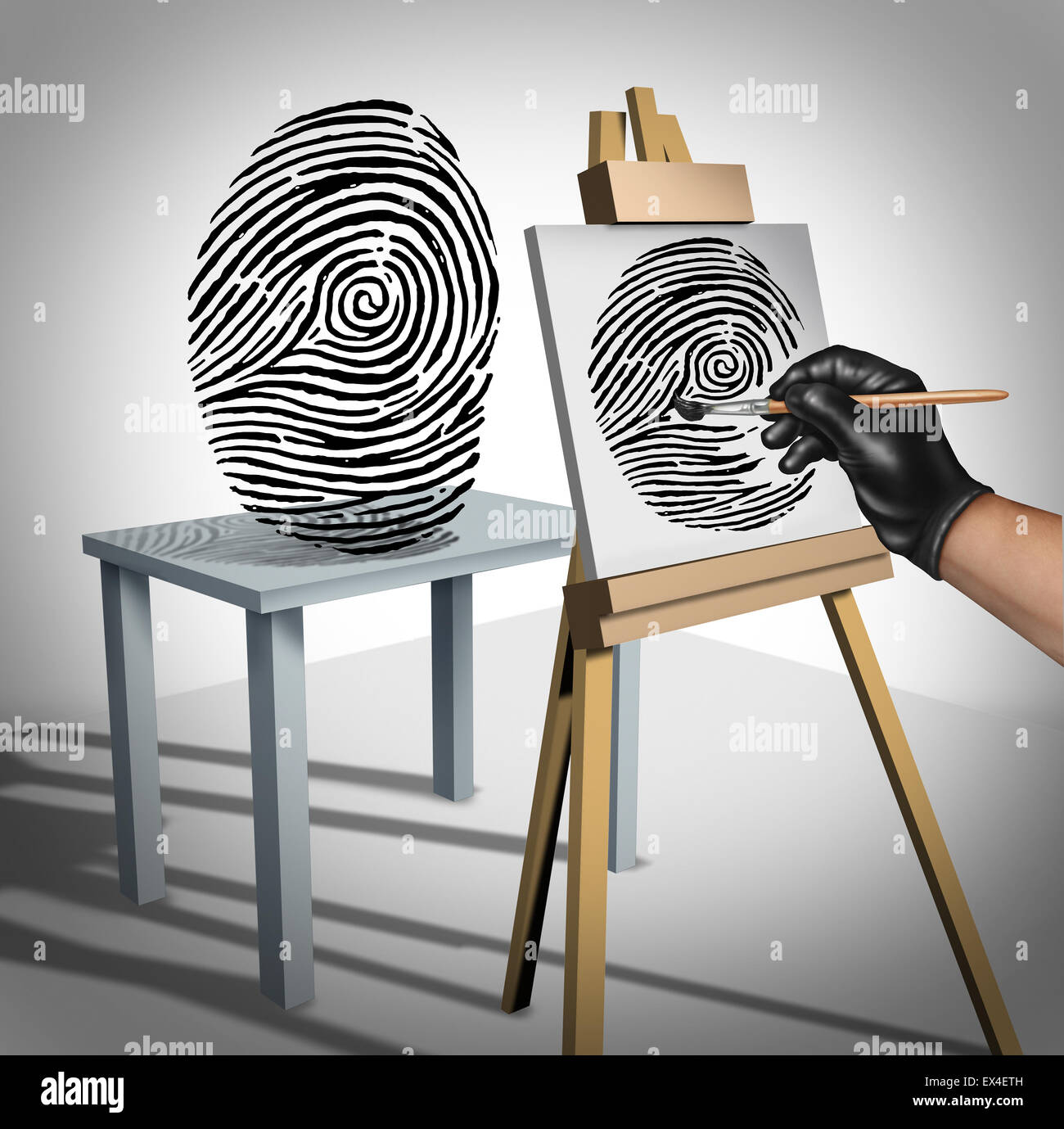 Identity theft concept as a criminal painting a copy of a fingerprint  as a security symbol for ID protection and - Stock Image