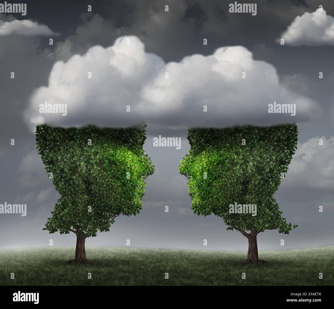 Cloud relationship and growing network communication with a group of two trees shaped as a human head in the clouds - Stock Image