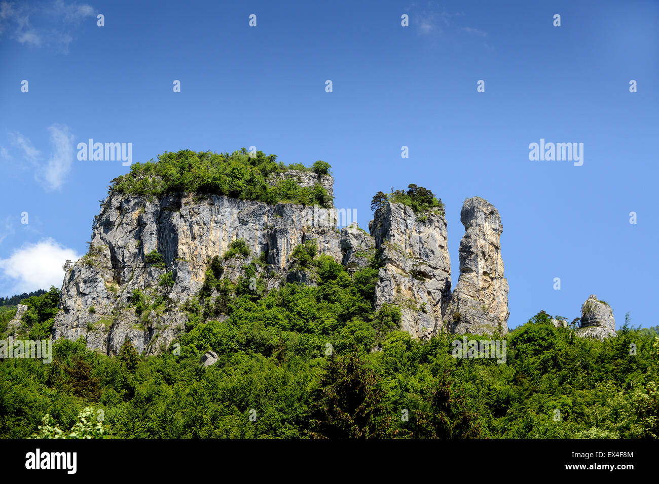 Tours Saint-Jacques rock rocks Rhone-Alpes in France Europe - Stock Image