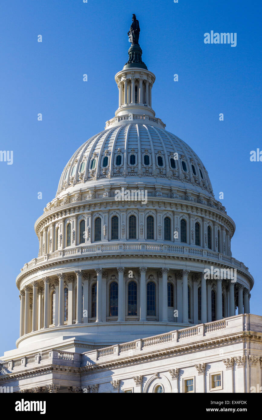 The dome of the U.S. Capitol building on a sunny day in Washington D.C. - Stock Image