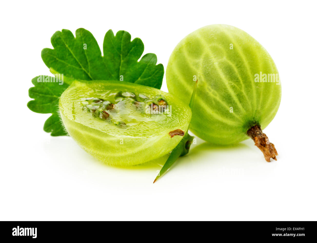juicy ripe gooseberry on the white background. - Stock Image