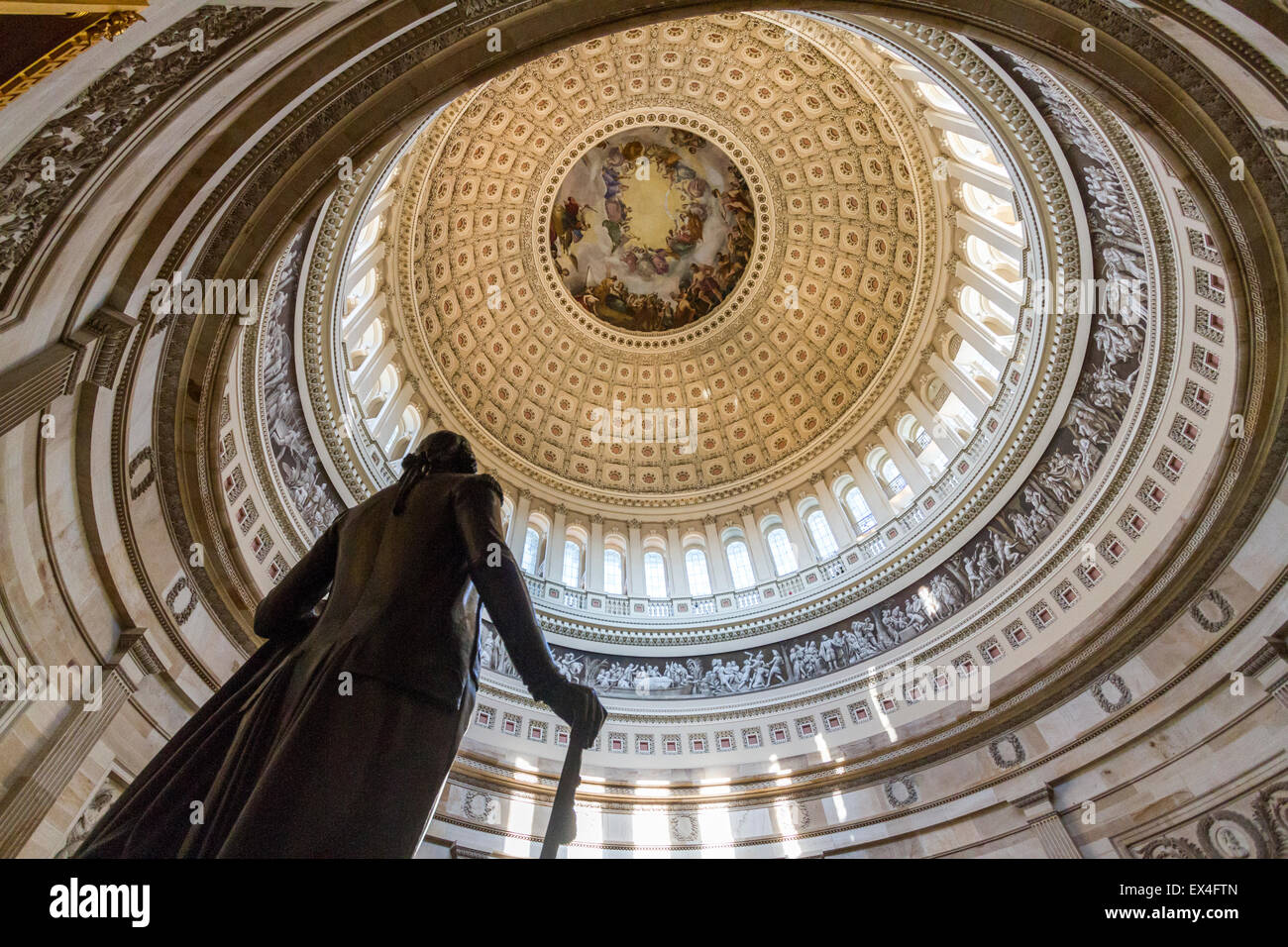 Statue of George Washington within the rotunda of the U.S. Capitol building in Washington D.C. - Stock Image