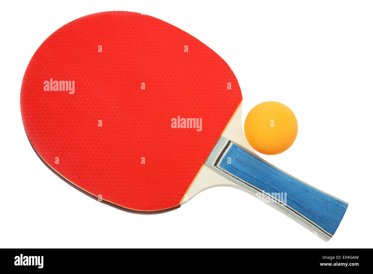 Red  tennis racket and orange ball for ping-pong isolated on a white background. - Stock Image