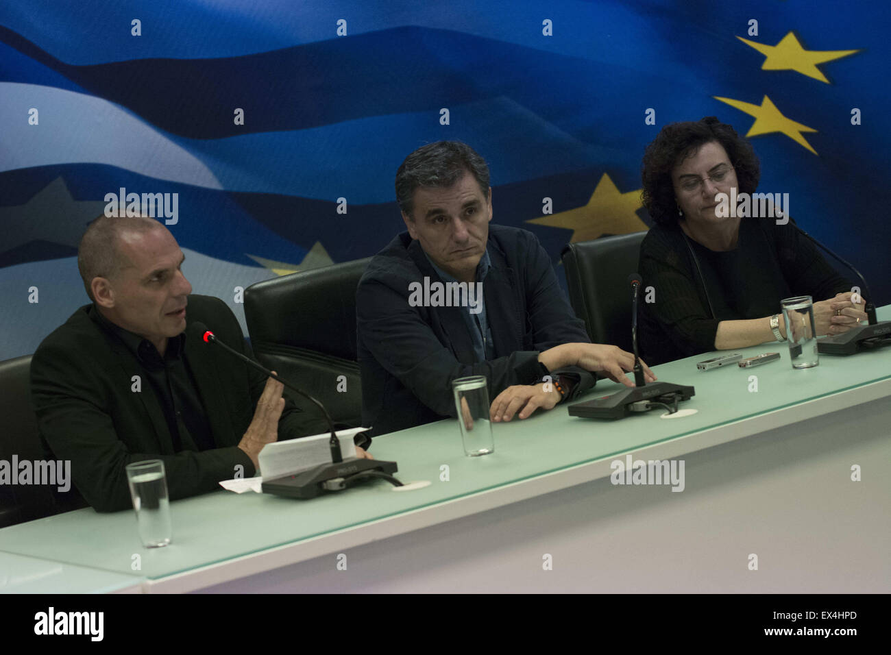 Athens, Greece. 6th July, 2015. The new finance minister EUCLID TSAKALOTOS(C) and the alternate minister of finances - Stock Image