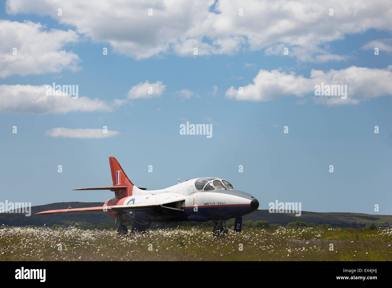 Hawker Hunter, serial number XL612, at Swansea Airport.  First flew 1958. - Stock Image