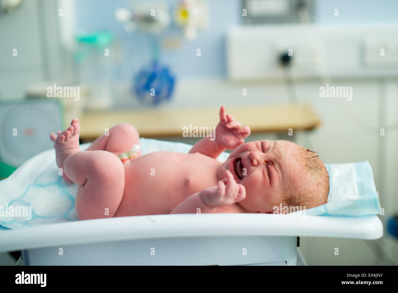 A newborn baby cries as it is weighed for the very first time - Stock Image