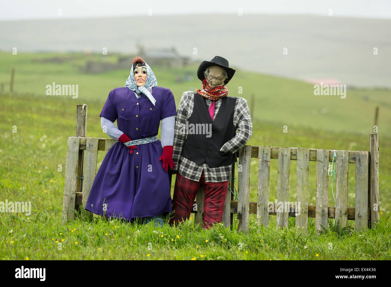 Scarecrow couple, made to celebrate a wedding on the Island of Unst, Shetlands. - Stock Image